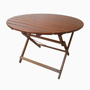 Runder Vintage Gartentisch aus Holz