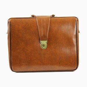 Vintage Briefcase in Cognac Faux Leather, Czechoslovakia, 1960s