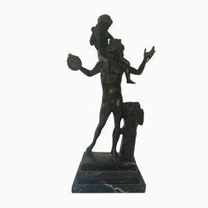 Sculpture Satyre avec Dionysos en Bronze pour Enfant de Chiurazzi