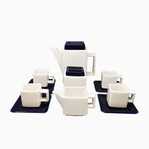 Blue and White Coffee Service from Fratelli Brambilla, Italy, 1970s, Set of 13