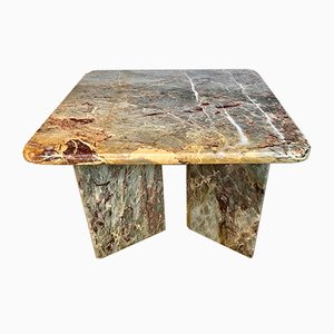Italian Square Multicolored Marble Side or Coffee Table, 1970s