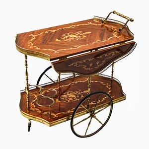 Chariot de Bar Hollywood Regency en Palissandre avec Marqueterie, Italie