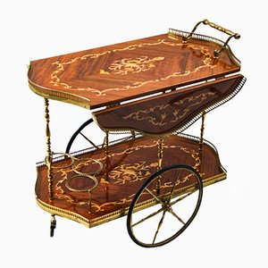 Italian Hollywood Regency Rosewood Bar Cart with Marquetry