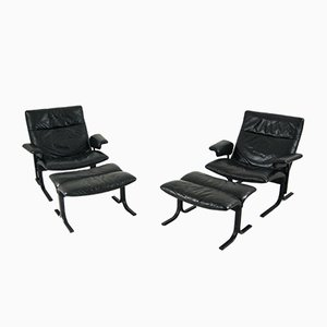 Black Leather DS-2030 Armchair and Footstool from De Sede, Set of 2