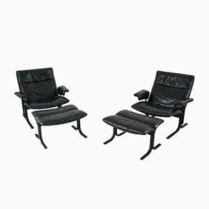 Schwarzer Leder DS-2030 Polsterstuhl und Fußhocker von De Sede, 2er Set