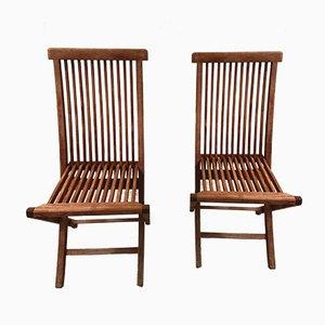 Chaise de Jardin Pliante Mid-Century en Teck