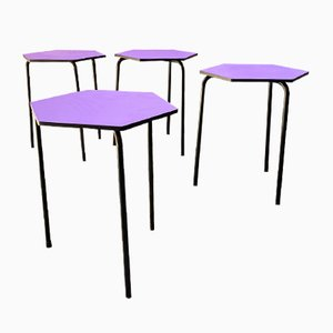 Mid-Century Modern Italian Hexagonal Bar Tables in Lilac with Metal Legs, 1960s, Set of 4