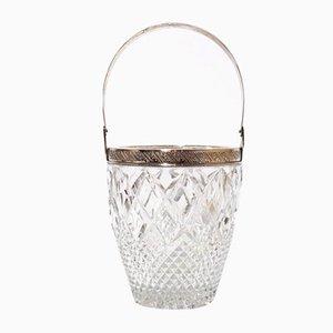 Angeschrägter Eiswürfelhalter aus Kristall & Silber, 1800er