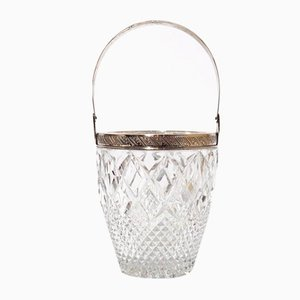 Bevelled Crystal and Silver Ice Cube Holder, 1800s