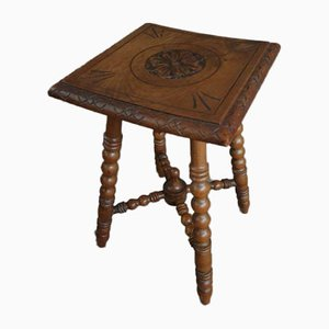 Antique Plant Table or Stool in Oak