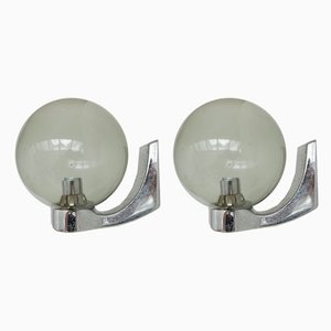 Mid-Century Dutch Chrome and Glass Wall Lamps, Set of 2