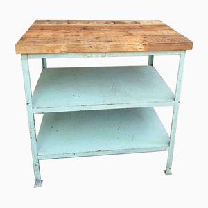 Industrial Shelving Unit or Table in Mint Green Steel & Wood