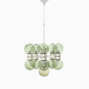 11-Light Chandelier with Glass Diffusers, 1970s