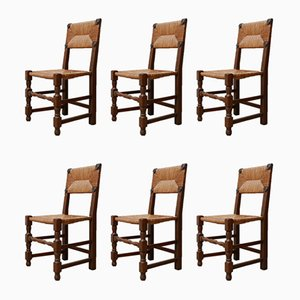 Mid-Century French Rush Dining Chairs, Set of 12