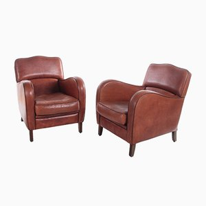 Armchairs in Sheep Leather, Set of 2