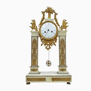 Temple de l'Horloge en Statuaire en Marbre Blanc et Bronze Doré