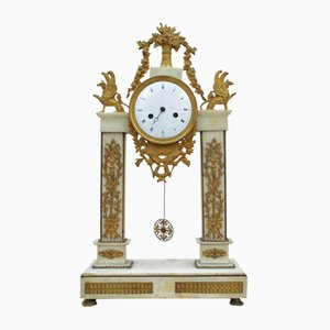 Clock Temple in White Marble Statuary and Gilded Bronze