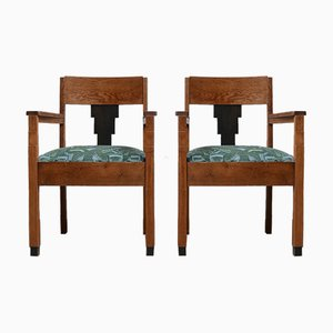 Art Deco Amsterdam School Armchairs, Set of 2