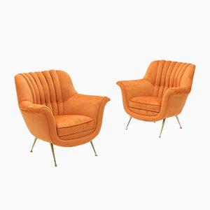 Poltrone di velluto arancione con piedi in ottone, anni '50, set di 2