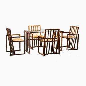 Tavolo da pranzo e sedie in legno, anni '70, set di 5