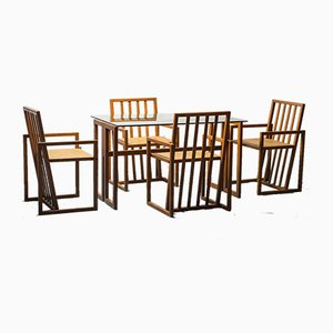 Wooden Dining Table and Chairs, 1970s, Set of 5