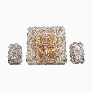 Large Gold-Plated & Crystal Glass Flush Mount or Wall Lamps from Kinkeldey, 1970s, Set of 3