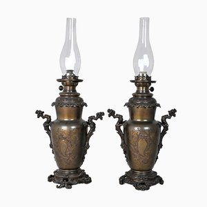Chinoisantes Bronze Oil Lamps, Set of 2