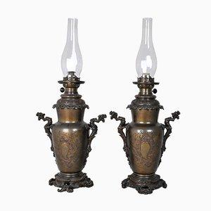 Lampade ad olio Chinoisantes in bronzo, set di 2