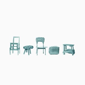 Chinese Stools – Made in China, Copied by the Dutch 2007, Green from Studio Wieki Somers, Set of 5