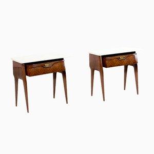 Tables de Chevet en Noyer et Marbre de Carrare, Italie, 1960s, Set de 2