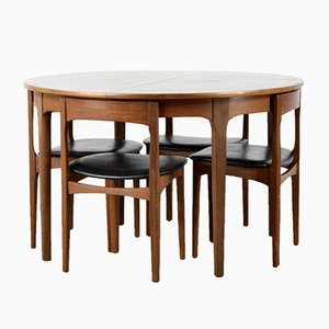 Mid-Century Extendable Teak Dining Table & Chairs from Nathan, 1960s, Set of 5