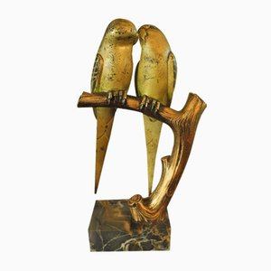 Bronze Sculpture of Lovebirds on Marble Base by Paul Marec