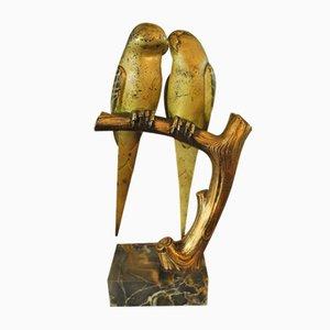 Sculpture d'Inséparables sur Socle en Marbre par Paul Marec