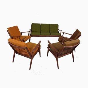 Mid-Century Danish Teak Lounge Chairs & Sofa, Set of 5