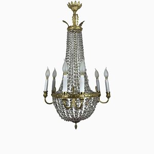 Gilded Bronze and Crystal Empire Chandelier, Early 1900s
