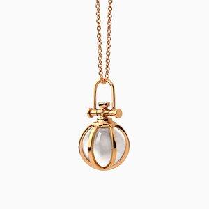 Moderne Heilige 18 Karat Roségold Kristallkugel Halskette mit Natürlichem Bergkristall von Rebecca Li