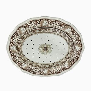 Antique English White & Brown Earthenware Meat Strainer Plates with Bulrush Pattern by T C Brown-Westhead for Moore and Co, Staffordshire, 1869, Set of 2