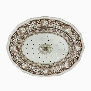 Plaques de Passoire à Viande Antiques en Faïence Blanche et Marron avec Motif de Ronce par TC Brown-Westhead pour Moore and Co, Staffordshire, 1869, Set de 2
