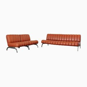 Schlafsofa und Zwei Ledersessel von Wittmann, 1970er, 3er Set