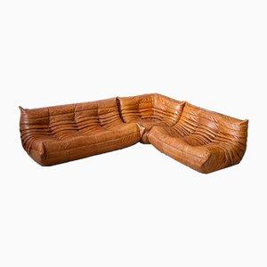 Pine & Leather Togo Living Room Set by Michel Ducaroy for Ligne Roset, 1970s, Set of 3