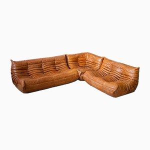 Pine Leather Togo 3-Seat, Corner Seat, Single Seat & Pouf Set by Michel Ducaroy for Ligne Roset, 1970s