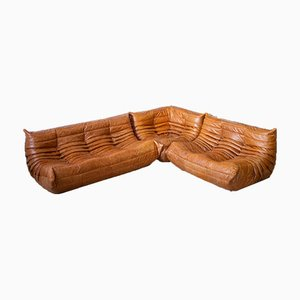 Pine & Leather Togo Living Room Set with Pouf by Michel Ducaroy for Ligne Roset, 1970s, Set of 4
