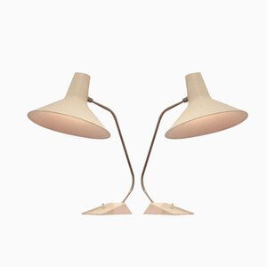 White Metal Table Lamps by J.J Hoogervorst for Anvia, Set of 2