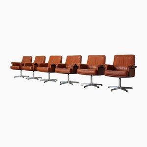 Chaises de Bureau DS-35 en Cuir de De Sede, Set de 6