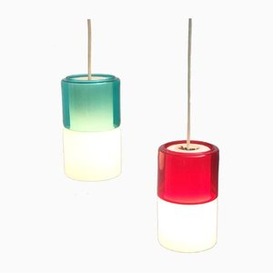Mid-Century German Glass Pendant Lamps from Peill & Putzler, Set of 2