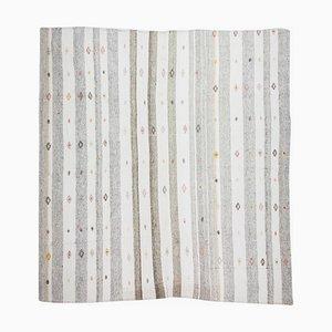 Minimalistischer Vintage Flach gewebter Flachgewebe Teppich in Grau & Weiß im Skandinavischen Stil