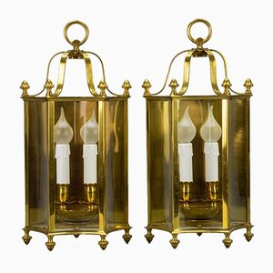 Vintage Brass and Glass Two-Light Wall Lanterns, Set of 2