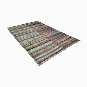 Mid-Century Modern Turkish Multi-Colored Striped Kilim Rug