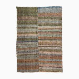 Tapis Kilim Vintage Turquoise Moderne avec des Couleurs Douces et des Rayures Horizontales
