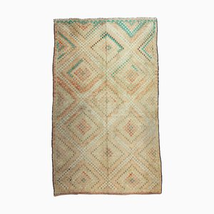 Vintage Turkish Embroidered Oushak Kilim Rug with Tan, Cream and Light Green Geometric Design